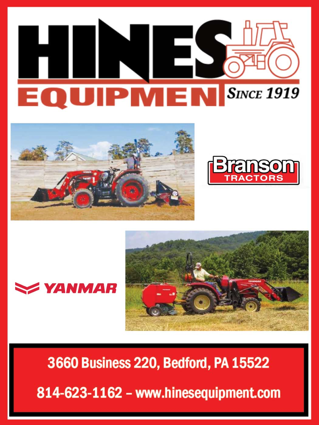 """<center>Hines Equipment   <b><a href=""""https://www.hinesequipment.com"""" target=""""_blank"""" rel=""""noopener noreferrer"""">CLICK HERE to view the website</a></b></center>"""