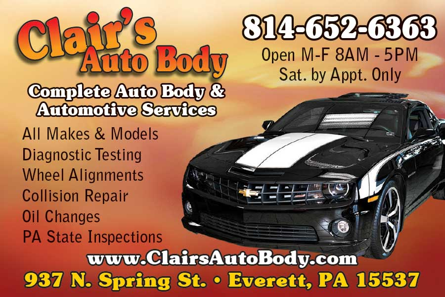 """<center>Clair's Auto Body   <b><a href=""""https://www.facebook.com/clairsautobody/"""" target=""""_blank"""" rel=""""noopener noreferrer"""">CLICK HERE to view the website</a></b></center>"""