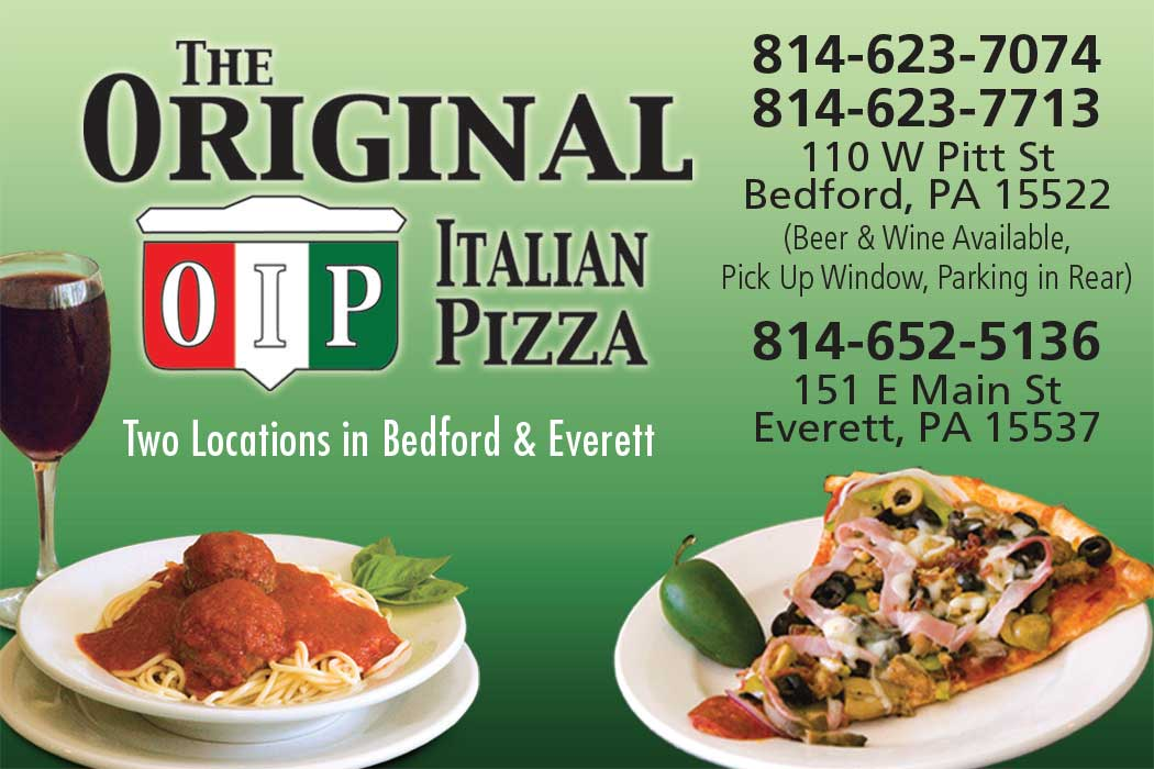 """<center>The Original Italian Pizza Bedford   <b><a href=""""https://www.facebook.com/Original-Italian-Pizza-and-Restaurant-Bedford-PA-126398317765339/"""" target=""""_blank"""" rel=""""noopener noreferrer"""">CLICK HERE to view the website</a></b> • The Original Italian Pizza Everett   <b><a href=""""https://everettoip.com"""" target=""""_blank"""" rel=""""noopener noreferrer"""">CLICK HERE to view the website</a></b></center>"""